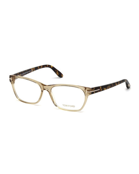 Tom Ford Two-Tone Square Optical Frames, Champagne