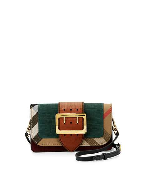 30b88a49fb BURBERRY SMALL BUCKLE SUEDE   HOUSE CHECK SHOULDER BAG