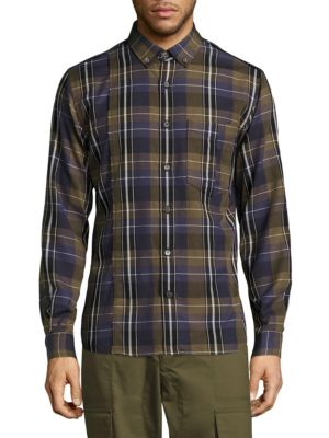 PUBLIC SCHOOL Retor Button-Down Collar Panelled Checked Cotton Shirt in Olive