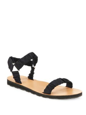 THE ROW Egon Ruched Nylon Flat Sandal, Black, Navy