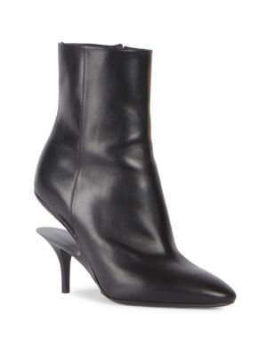 Suspended-Heel Leather Ankle Boots, Black