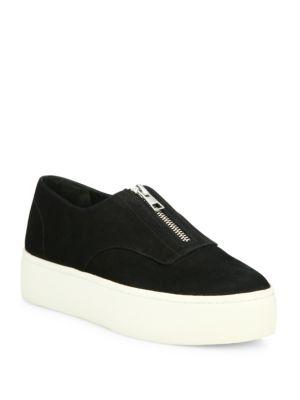 VINCE 'Warner' Nubuck Leather Zip Flatform Sneakers, Black