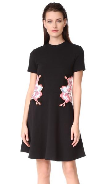 CARVEN Floral Embroidered Short-Short Mini Dress, Black