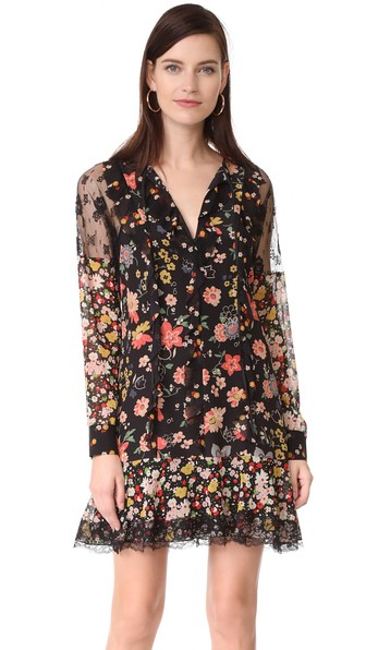 RED VALENTINO Split-Neck Long-Sleeve Floral-Print Ruffle Lace Dress in Black