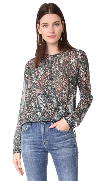 VERONICA BEARD Gayle Surplice Printed Silk Top, Multi
