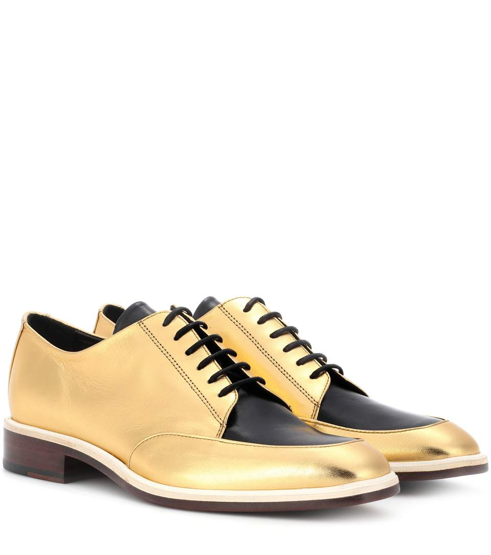 Metallic Leather Derby Shoes, Gold