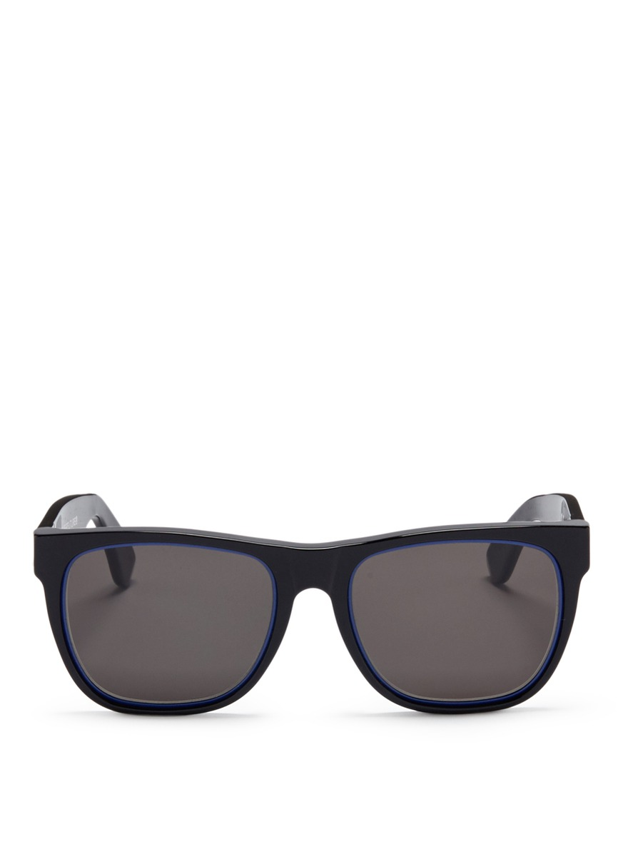 SUPER \'Classic Impero Blu\' D-Frame Acetate Sunglasses | ModeSens