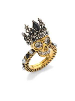 Queen Skull Crystal And Pearl-Embellished Ring in Metallic