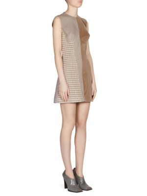 Woman Velvet-Paneled Jacquard Mini Dress Camel in Brown