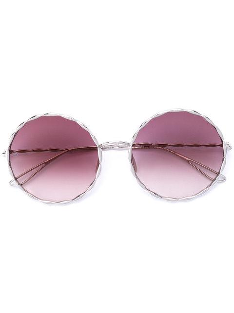 ELIE SAAB Palladium-Plated Round-Frame Sunglasses in Metallic
