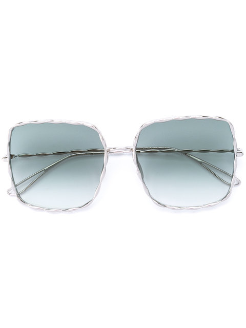 ELIE SAAB Palladium-Plated Square-Frame Sunglasses in Metallic