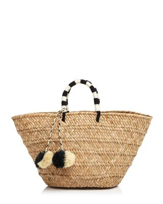 KAYU St. Tropez Woven Seagrass Tote in Navy/Camel
