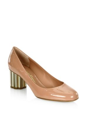 Salvatore Ferragamo Lucca Patent Leather Flower Heel Pumps giggiX