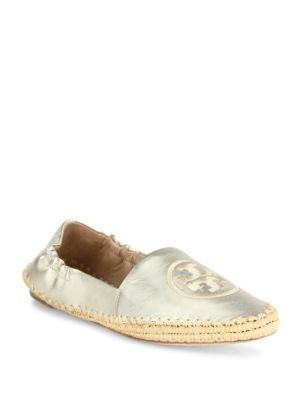 TORY BURCH Darien Metallic Leather Espadrille Loafers, Spark Gold