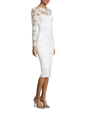 Long sleeve cream cocktail dress
