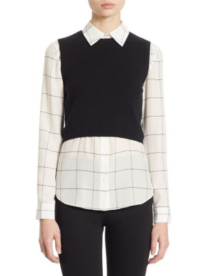 ALICE AND OLIVIA Two-Piece Lucinda Cropped Sweater Vest ...