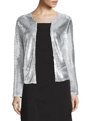 Waklyn Sequined Twill Jacket, Silver