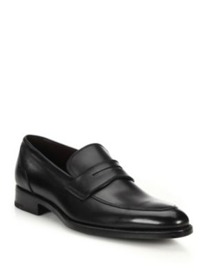 Men'S Lasola Soft Burnished Leather Penny Loafers, Black Leather