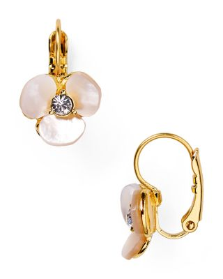 Disco Pansy Mother-Of-Pearl Leverback Earrings in Cream