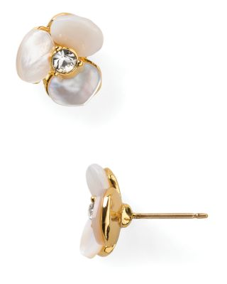 'Disco Pansy' Stud Earrings, Cream/Clear