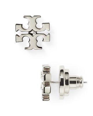 T-Logo Stud Earrings/Silvertone