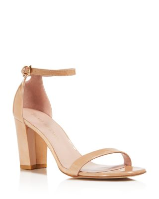 Nearlynude Nappa Leather Ankle Strap High Heel Sandals in Adobe