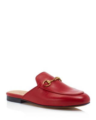 Princetown Leather Backless Loafers, Hibiscus Red/Gold