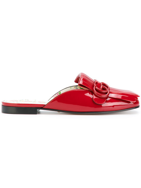 GUCCI Marmont Patent Leather Slippers in Red