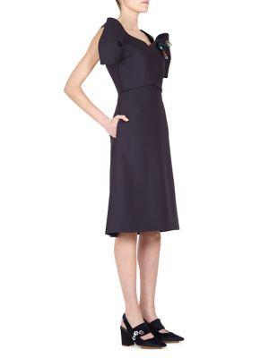 DELPOZO Embellished Off-Shoulder Dress In Wool And Silk in Black