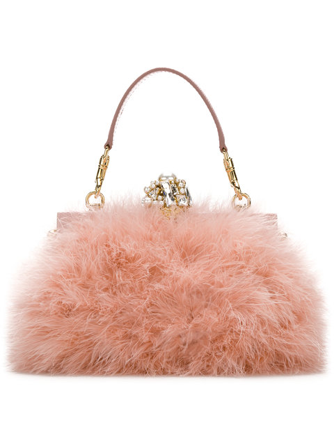 Feather & Crystal Top Handle Bag, Pink