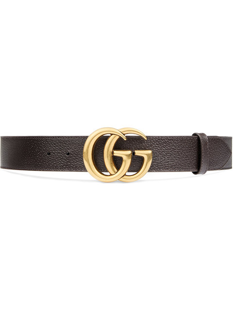 Men'S Leather Belt With Double-G Buckle in Brown