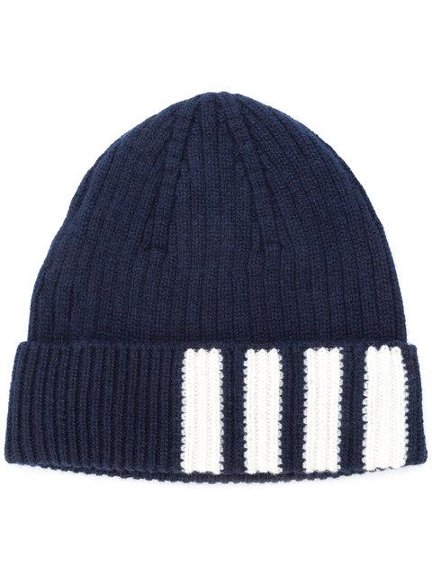 4-Bar Stripe Cashmere Rib Hat, Blue