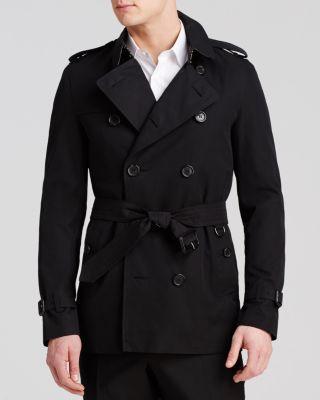 Sandringham Short Double Breasted Trench Coat, Black
