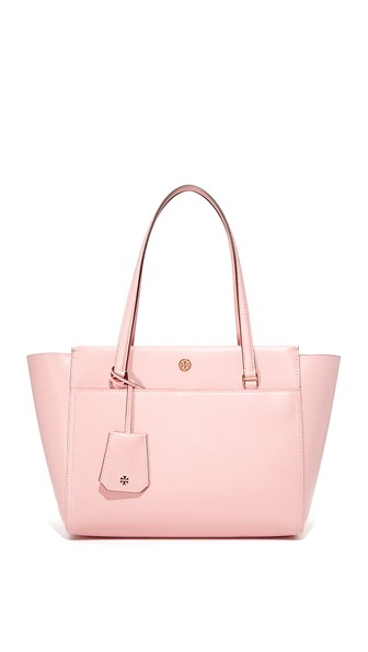 Robinson Small Saffiano Leather Zip-Top Shoulder Tote Bag, Pink Quartz Leather / Cardamom
