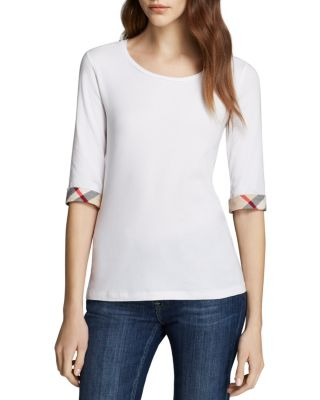 Scoop Neck Three Quarter Sleeve Tee With Check Cuffs, White