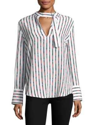 Woman Janelle Striped Washed-Silk Blouse White, Bright White Multi