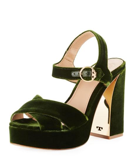 Loretta Velvet Platform Sandal, Dark Green