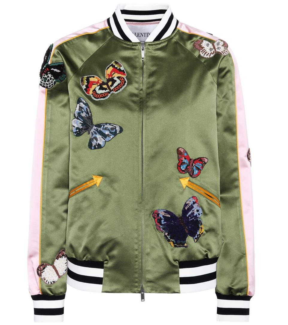 Butterflies Silk Satin Bomber Jacket in Green