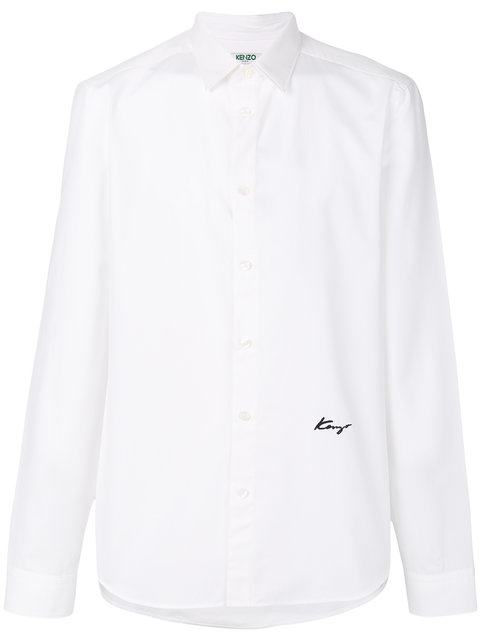 KENZO Slim Fit Embroidered Shirt, White
