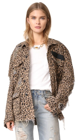 Abu Distressed Leopard-Print Cotton Jacket