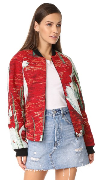 Raglan Bomber Jacket With Cotton, Swan Scene