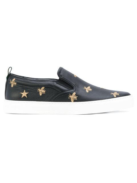 Men'S Dublin Bee & Star Embroidered Leather Slip-On Sneakers in Green