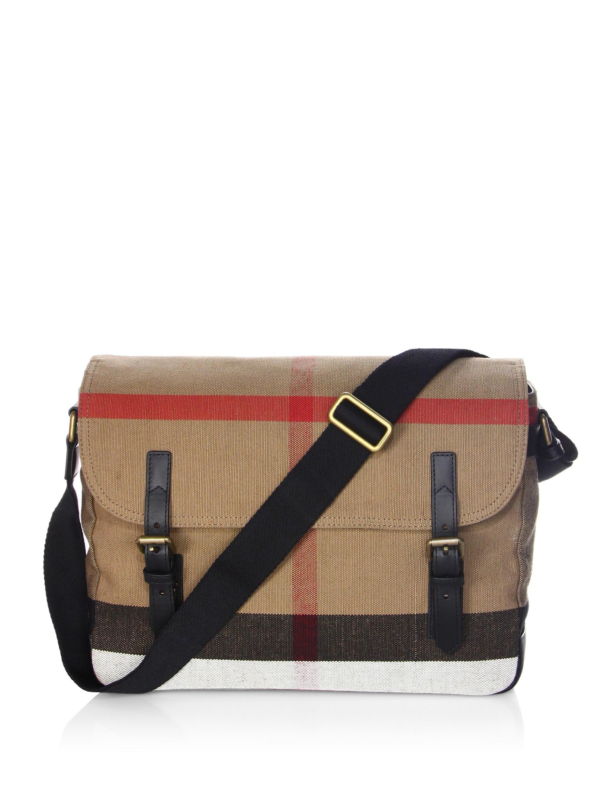 BURBERRY Check Cotton Canvas Messenger Bag in Black