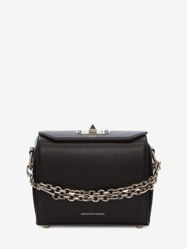 ALEXANDER MCQUEEN Box 19 Crocodile-Effect Leather Cross-Body Bag in Black