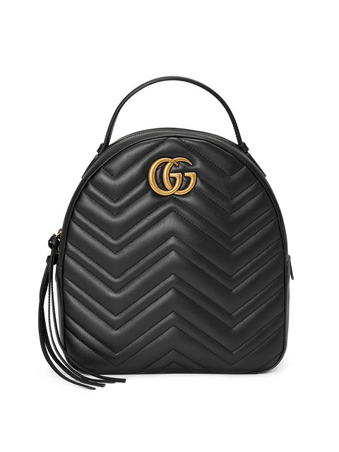 Gg Marmont 2.0 Matelasse Quilted Velvet Backpack - Black