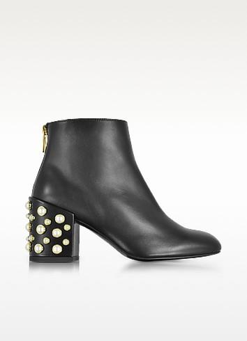 Pearlbacari Black Nappa Leather Heel Ankle Boots W/Pearls
