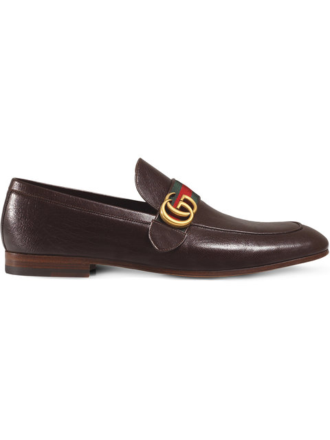Leather Loafer With Gg Web in Brown