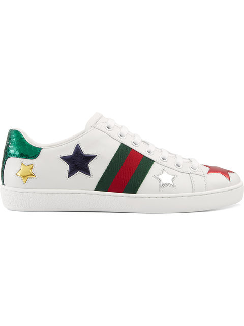 New Ace Star-Detail Leather Trainers in White