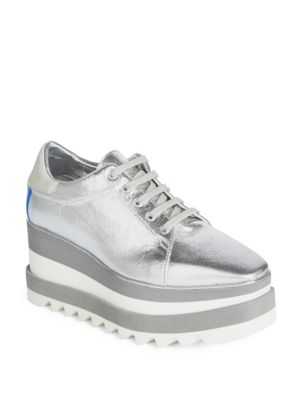 Sneak-Elyse Faux-Leather Platform Sneakers, Grey