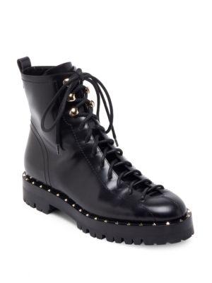 Soul Rockstud Trek-Sole Leather Ankle Boots, Black